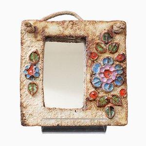 Französischer Spiegel mit Rahmen aus Keramik mit Blumendekor von La Roue, 1960er