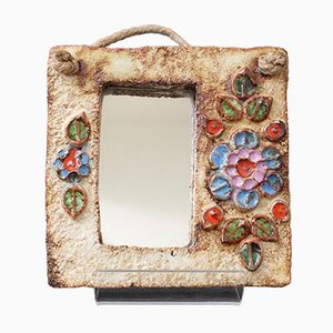 French Ceramic Flower Motif Mirror from La Roue, 1960s