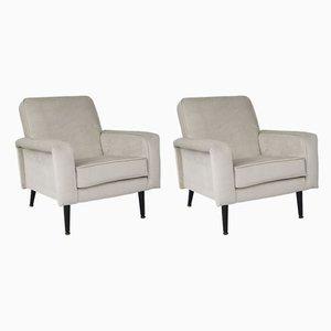 Mid-Century Velvet Lounge Chairs, Set of 2