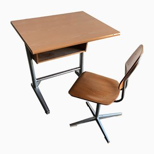 Swiss School Bench and Stool from Embru, 1960s, Set of 2