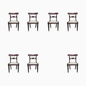 Antike Esszimmerstühle aus Mahagoni, 7er Set