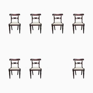 Antique Mahogany Dining Chairs, Set of 7