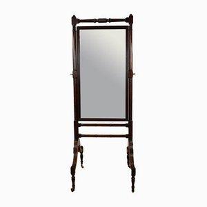 Regency Mahogany Cheval Antique Mirror