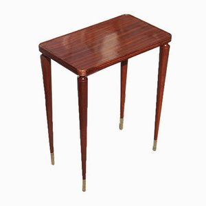 Mahogany Wood Brass Side Table, 1940s