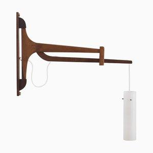 Applique in teak e vetro, Danimarca, anni '60