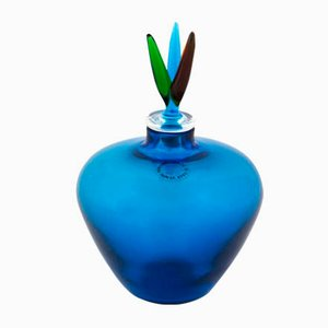 Blue Murano Glass Bottle by Laura De Santillana for Venini, 1989