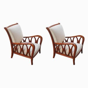 Cherrywood Armchairs by Paolo Buffa, 1940s, Set of 2