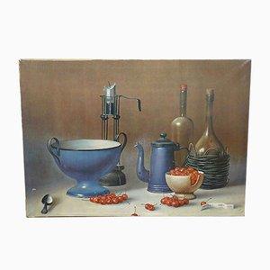 Quadro Still Life vintage con ciliegie di Proferio Grossi, 1971