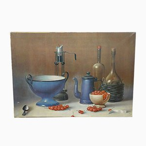 Vintage Still Life with Cherries Canvas by Proferio Grossi, 1971