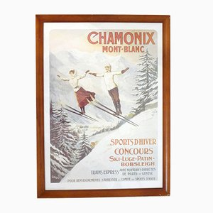 Póster de Ski Chamonix antiguo de Tamagno
