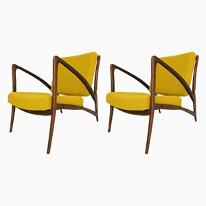 American Nut Wood Lounge Chairs by Tjeu Schroen, 2000s, Set of 2