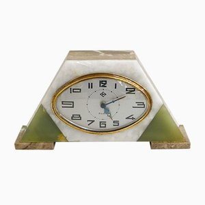 Vintage Art Deco Marble Clock from DEP, 1930s
