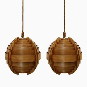 Teak Ceiling Lamps by Hans-Agne Jakobsson for AB Elysset, 1960s, Set of 2