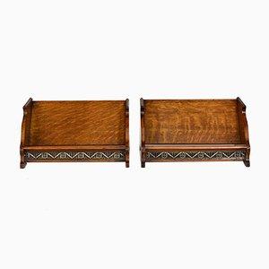 Antike Arts & Crafts Buchständer aus Eiche mit Intarsien, 2er Set