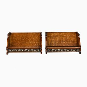 Antique Arts & Crafts Oak Inlaid Book Stands, Set of 2