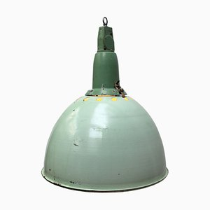 Industrial Light Green Enamel & Cast Aluminum Pendant Lamp, 1950s