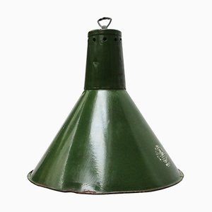 Industrial Green Enamel Pendant Lamp, 1950s
