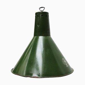 Lampe à Suspension Industrielle en Émail Vert, 1950s