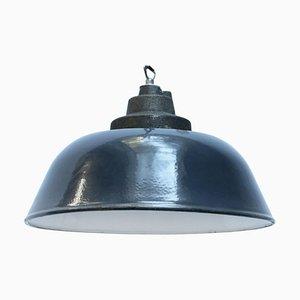 Lampada industriale in ghisa blu scura, anni '50