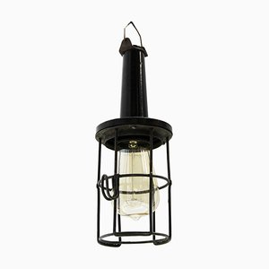 Lampe à Suspension Industrielle en Bakélite Noir et Métal, 1950s