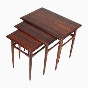 Tavolini ad incastro in palissandro di Poul Hundevad, Danimarca, anni '60