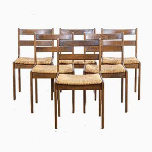 Oak and Woven Dining Chairs, 1960s, Set of 6