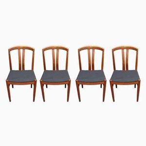 Moderne skandinavische Esszimmerstühle aus Teak von johansson für soner, 1950er, 4er Set