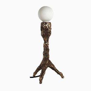 Lámpara de mesa escultural de bronce de William Guillon