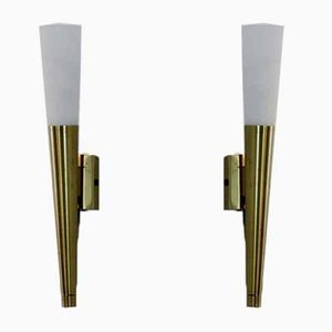 Italian Brass & Opaline Glass Sconces, 1970s, Set of 2
