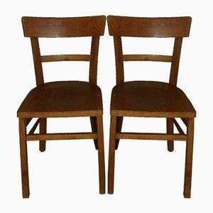 Vintage Esszimmerstühle aus Holz, 2er Set