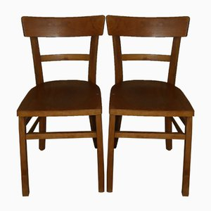 Vintage Wood Dining Chairs, Set of 2