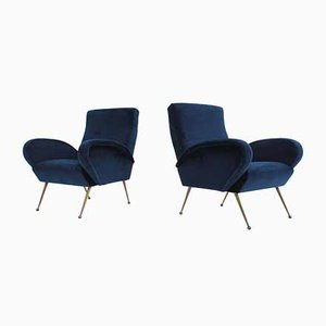 Italian Velvet Armchairs, 1950s, Set of 2