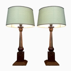 French Teak Table Lamps, 1970s, Set of 2
