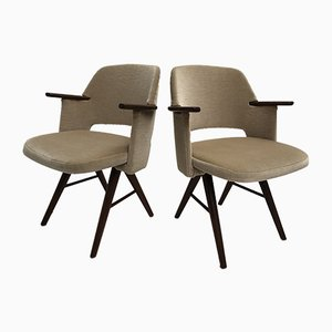 Model FE30 Teak and Velvet Dining Chairs by Cees Braakman for Pastoe, 1950s, Set of 2