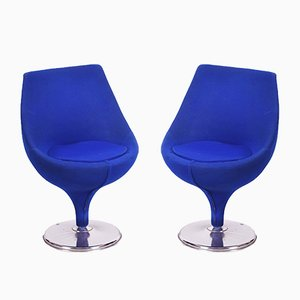 Mid-Century Italian Blue Chrome Swivel Club Chairs, 1960s, Set of 2