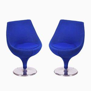 Mid-Century Italian Blue Chrome Swivel Club Chairs, 1960s, Set of 2