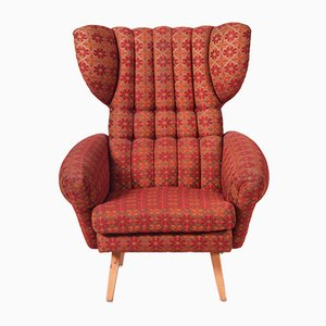 Mid-Century Czech Red Beech Wing Armchair, 1950s