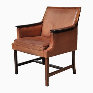 Norwegian Model Minerva Rosewood and Cognac Leather Club Chair by Torbjørn Afdal for Bruksbo, 1960s