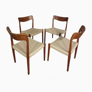 Danish Teak & Paper Cord Dining Chairs, 1960s, Set of 4