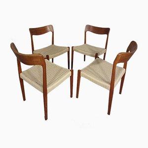 Danish Teak & Paper Cord Dining Chairs, 1960s, Set of 4