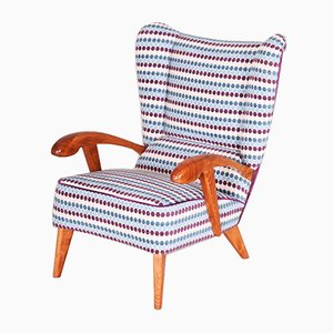 Mid-Century Czech Blue and Violet Beech Armchair, 1950s