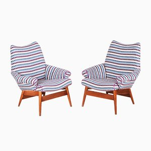 Mid-Century Czech Blue Oak Armchairs, 1950s, Set of 2
