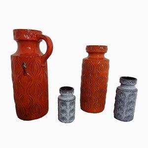 Jarrones de Alemania Occidental de cerámica de Scheurich, años 60. Juego de 5