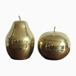 Italian Brass Fruit-Shaped Boxes, 1970s, Set of 2