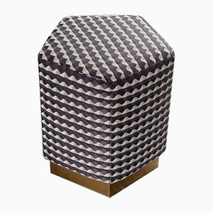 Ermes Pentagon Pouf Rio II in Fabric and Brass Plinth by Casa Botelho