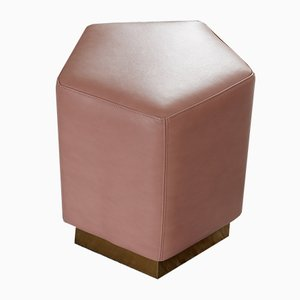 Ermes Pentagon Pouf Confetto in Pink Mousse Leather and Brass by Casa Botelho
