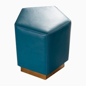Ermes Pentagon Pouf Mare in Blue Mousse Leather and Brass by Casa Botelho