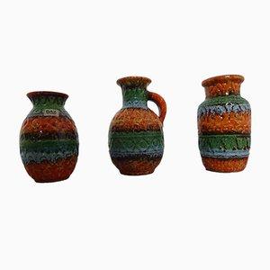 Jarrones de cerámica de Bodo Mans para Bay Keramik, años 60. Juego de 3