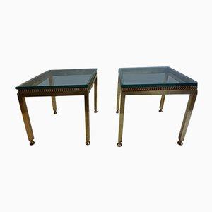 Mesas auxiliares de latón y vidrio, años 50. Juego de 2