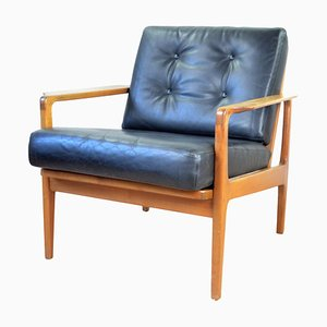 Mid-Century Black Leather Lounge Chair, 1960s